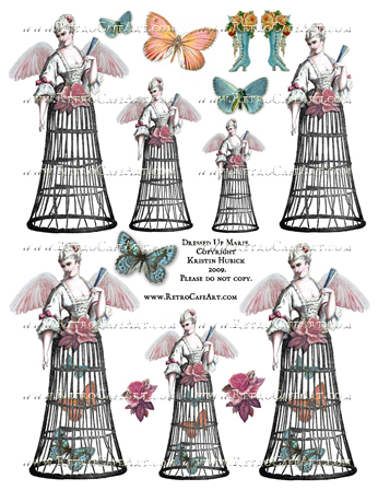 Dressed Up Marie Antoinette Collage Sheet