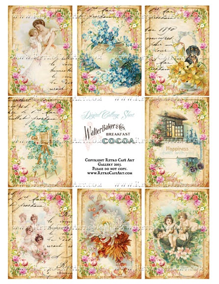 Dusty Attic ATC Size Collage Sheet - SC111