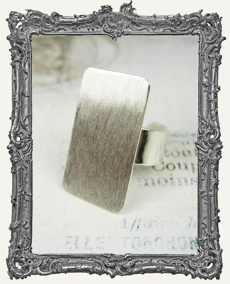 Silver Overlay FLAT Ring Blank Adjustable RECTANGLE