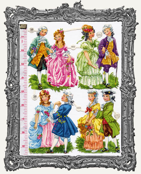 German Scrap - 4 MEDIUM Victorian COUPLES Marie Antoinette Style
