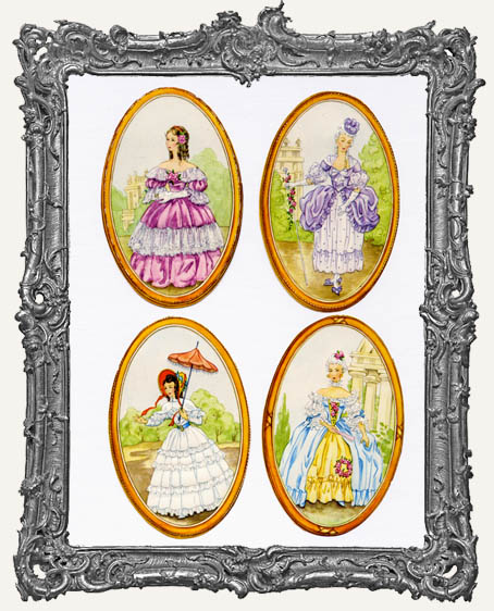 German Scrap - 8 Victorian Ladies Cameos Marie Antoinette Style