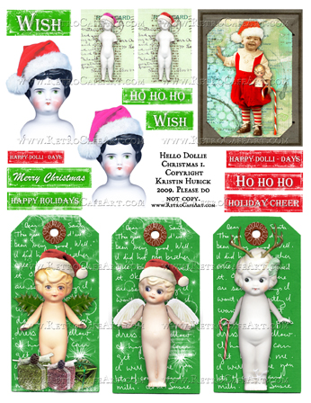 Hello Dollie Christmas I Doll Collage Sheet