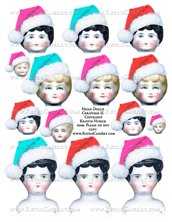 Hello Dollie Christmas II German Doll Heads Collage Sheet