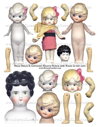 Hello Dollie 2 Doll Collage Sheet