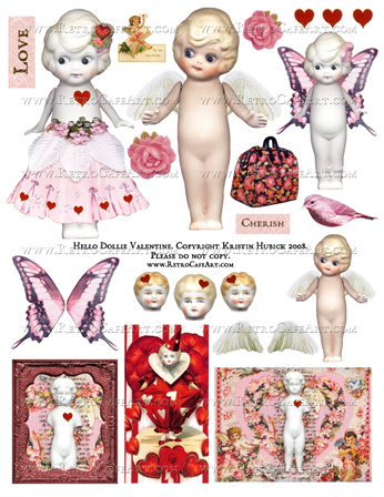 Hello Dollie Valentine Doll Collage Sheet