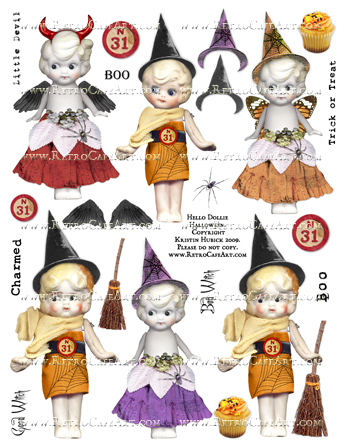 Hello Dollie Halloween Doll Collage Sheet