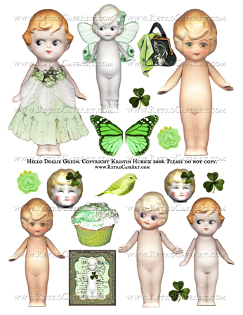 Hello Dollie GREEN Doll Digital Collage Sheet