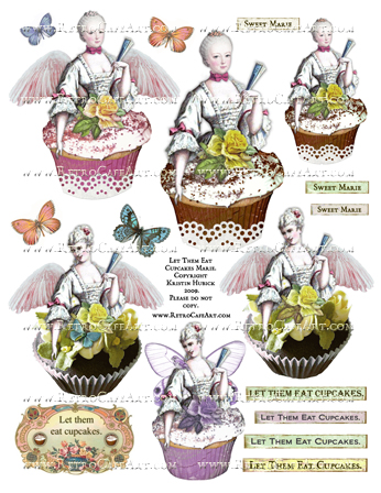 Let Them Eat Cupcakes Marie Antoinette Collage Sheet