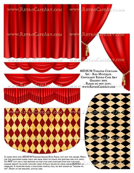 MEDIUM Theatre Curtains Set Collage Sheet - Red Mystique
