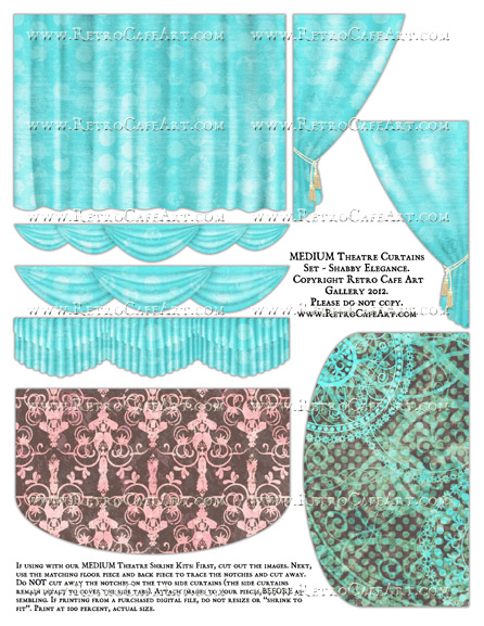 MEDIUM Theatre Curtains Set Collage Sheet - Shabby Elegance