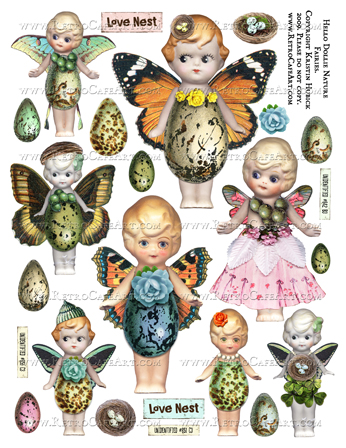 Hello Dollie NATURE FAIRIES Doll Collage Sheet