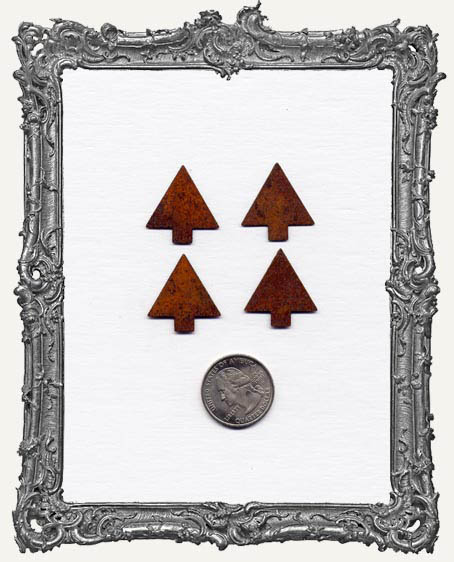 1 Inch Rusty Tin Primitive Christmas TREES PACK OF 4