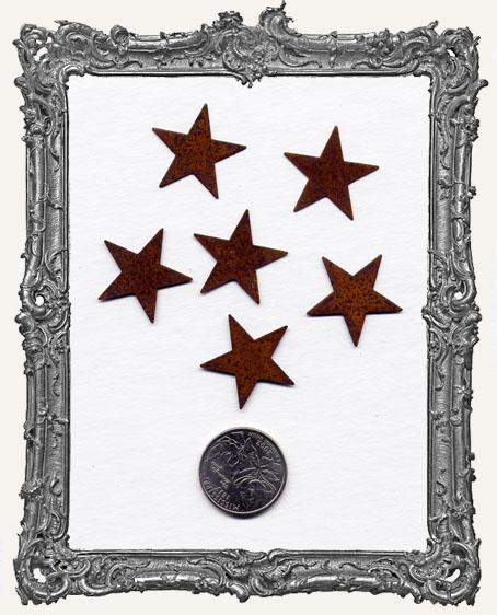 1 Inch Rusty Tin STARS PACK OF 6