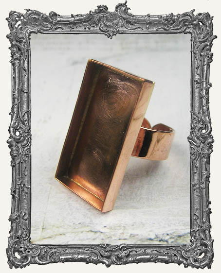 COPPER Deep Welled Ring Blank Bezel Adjustable RECTANGLE
