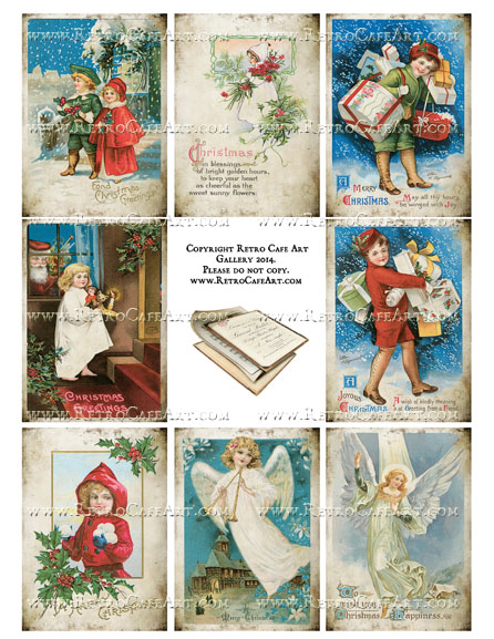 Vintage Christmas Traditions ATC Size Collage Sheet - SC17