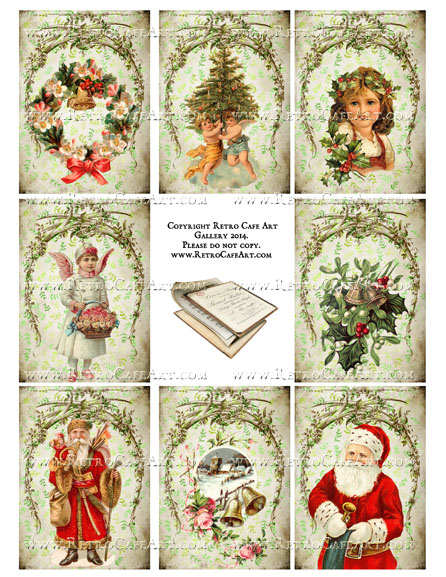 Vintage Victorian Christmas ATC Size Collage Sheet - SC18