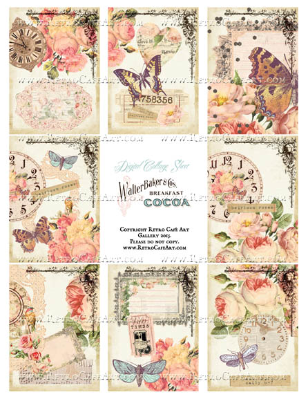Heirloom Rose ATC Size Collage Sheet - SC100