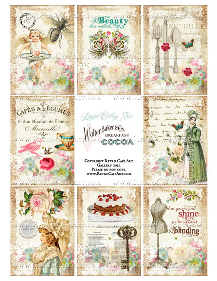 Lady Jane ATC Size Collage Sheet - SC101