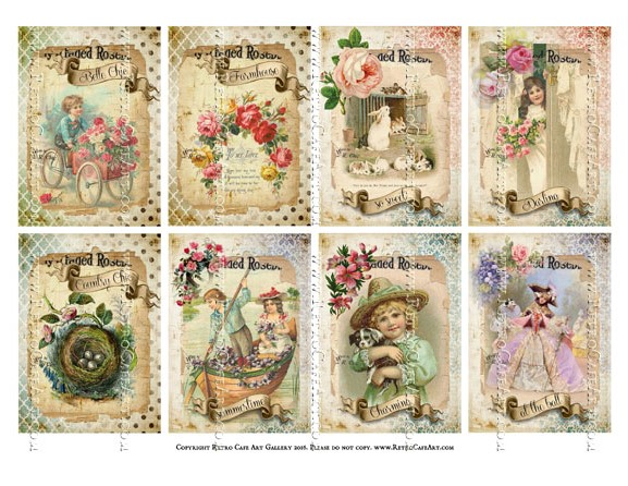 Victorian Spring ATC Size Collage Sheet - SC102