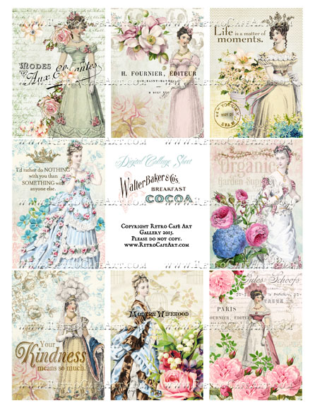 Springtime Belles ATC Size Collage Sheet - SC103