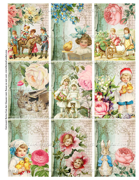 Aqua Fleur ATC Sized Easter Collage Sheet - SC105