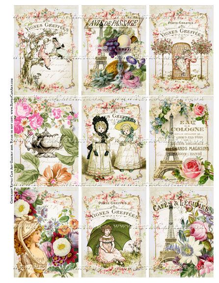 Assorted Floral Bouquet ATC Sized Collage Sheet - SC106