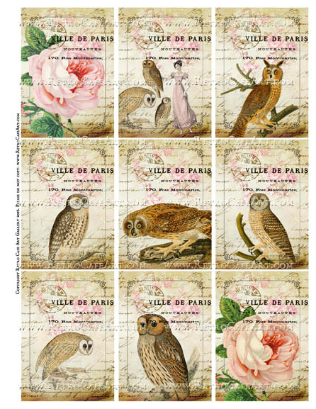 Owl City ATC Size Collage Sheet - SC109