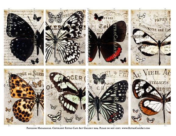 Papillons Madagascar ATC Size Collage Sheet - SC10