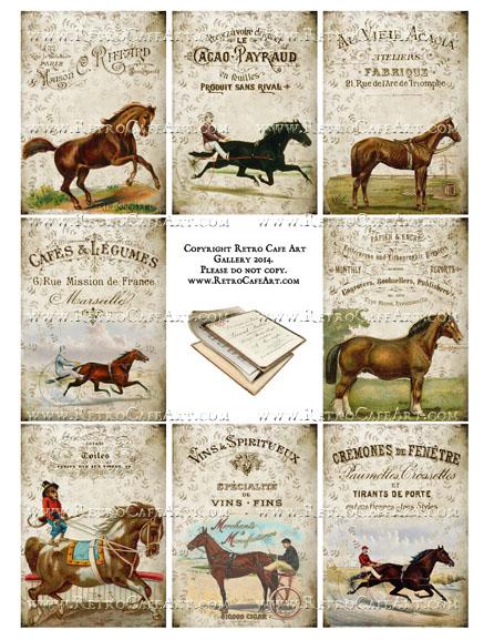 Antique Horses I ATC Size Collage Sheet - SC11