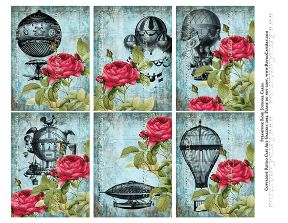 Steampunk Rose Journal Cards Collage Sheet - SC14