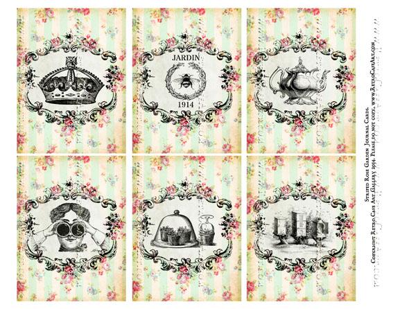 Striped Rose Garden Journal Cards Collage Sheet - SC15