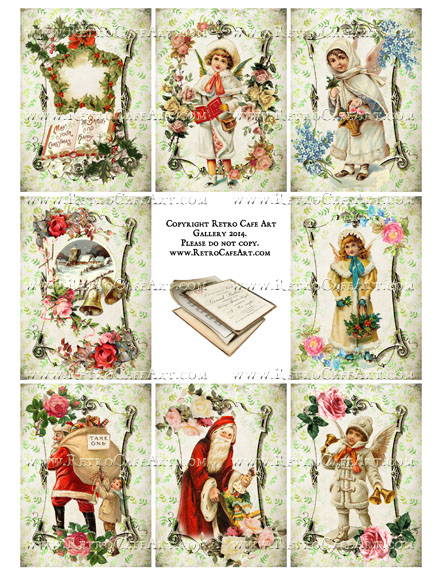 Vintage Christmas Memories ATC Size Collage Sheet - SC16