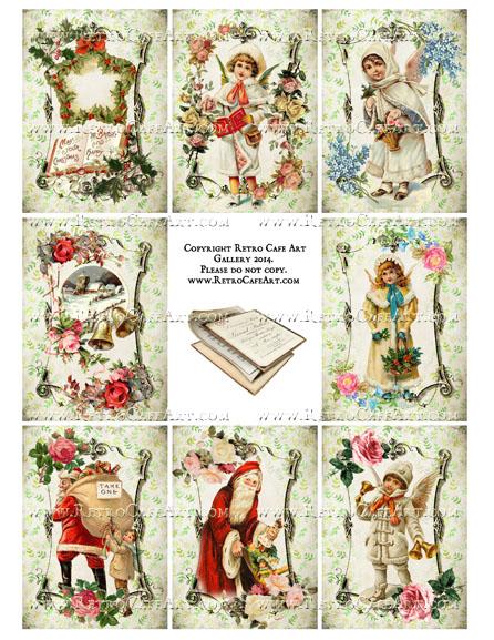 Vintage Christmas Memories ATC Size Collage Sheet - SC16