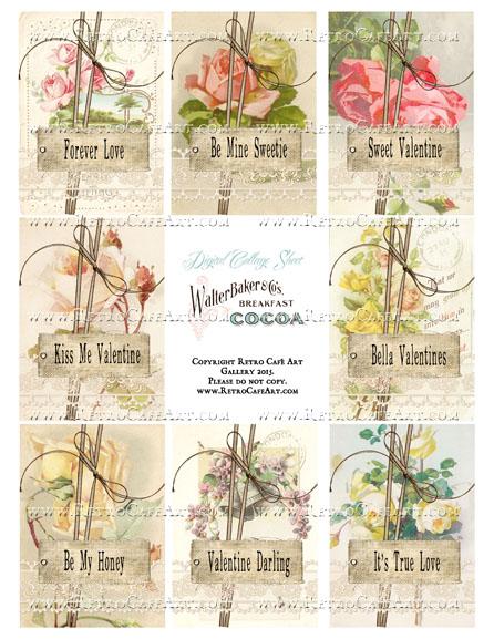 Fleur Vintage Valentine ATC Size Collage Sheet - SC19