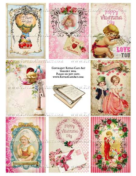 Vintage Valentine ATC Size Collage Sheet - SC1