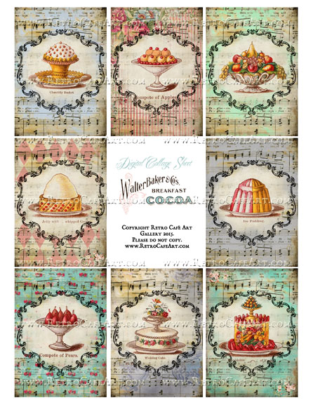 Sweet Treats ATC Size Collage Sheet - SC20