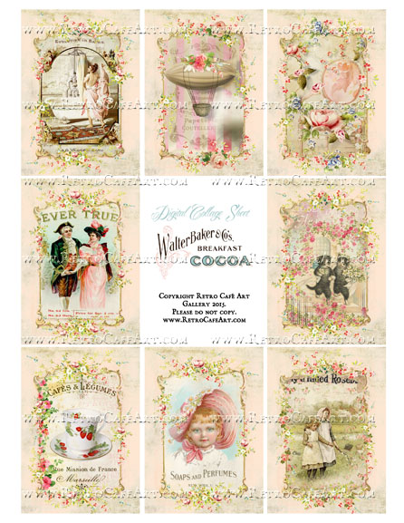 Cottage Pink Rose Vintage Valentine ATC Size Collage Sheet - SC21