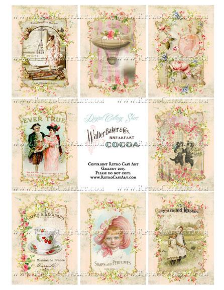 Cottage Pink Rose Vintage Valentine ATC Size Collage Sheet - SC21