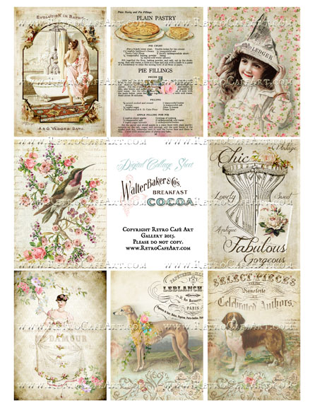 Classic Vintage ATC Size Collage Sheet - SC22
