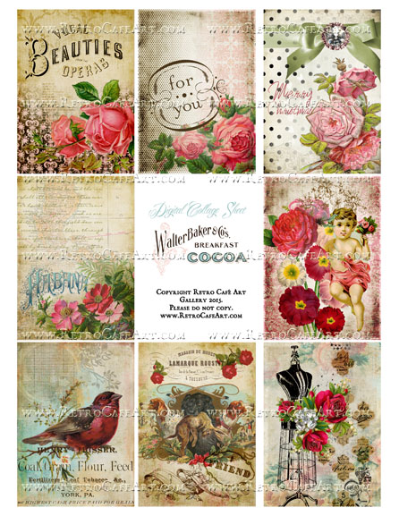 Classic Vintage ATC Size Collage Sheet - SC23