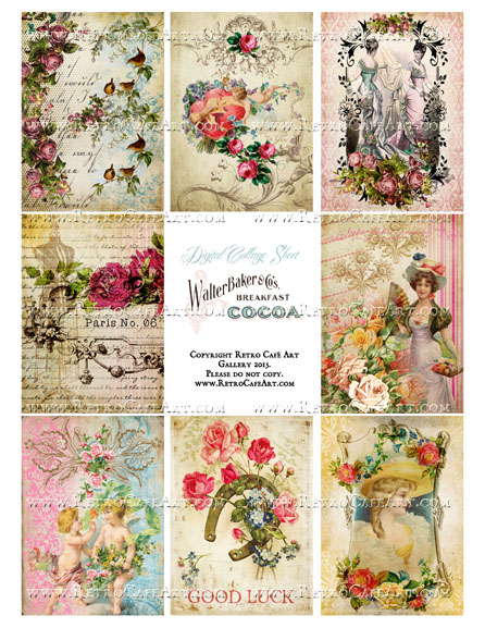 Classic Vintage ATC Size Collage Sheet - SC24