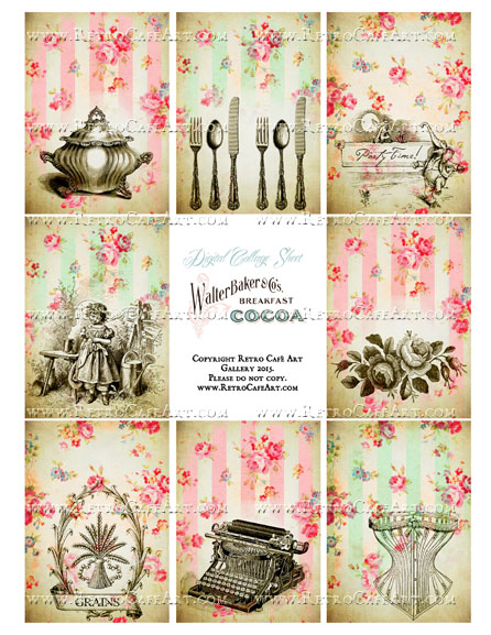 Chic Rose Illustrations Vintage ATC Size Collage Sheet - SC25