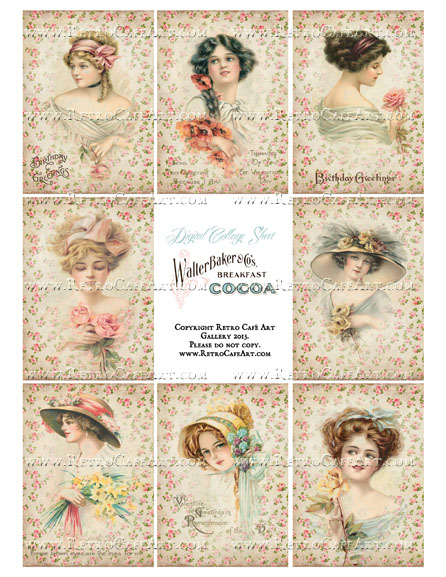 Antique Rose Ladies ATC Size Collage Sheet - SC26