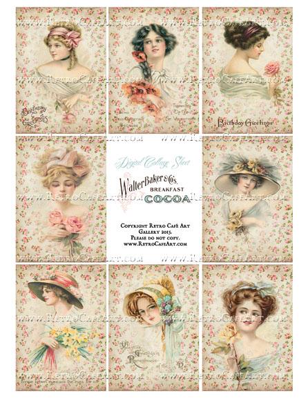 Antique Rose Ladies ATC Size Collage Sheet - SC26