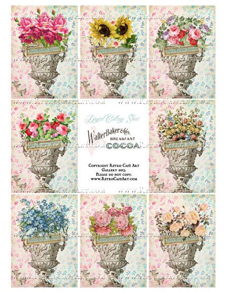 Vintage Garden Urns ATC Size Collage Sheet - SC27