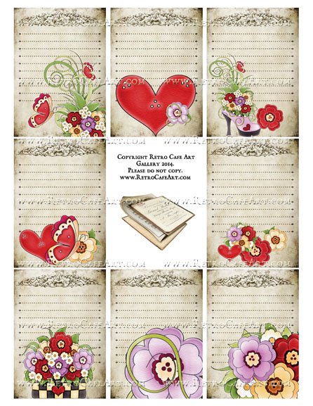 Heart Journal Cards ATC Size Collage Sheet - SC2