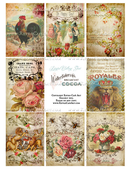 Antique Ephemera Vintage ATC Size Collage Sheet - SC31