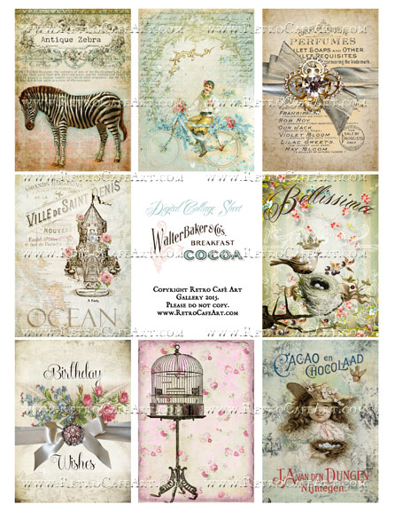 Antique Love Vintage ATC Size Collage Sheet - SC32