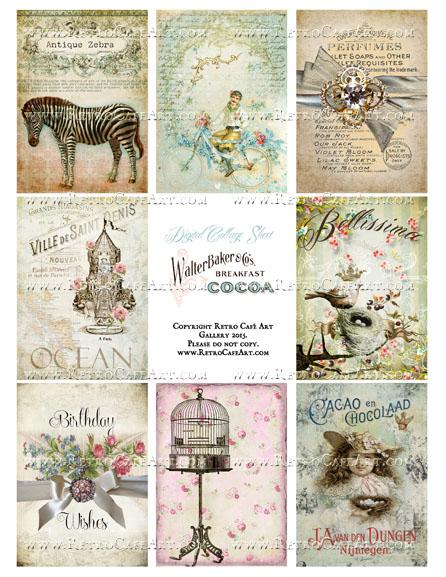 Antique Love Vintage ATC Size Collage Sheet - SC32