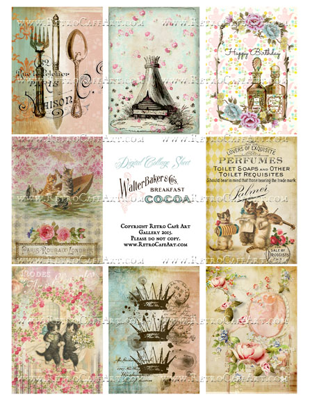 Antique Ephemera Vintage ATC Size Collage Sheet - SC34